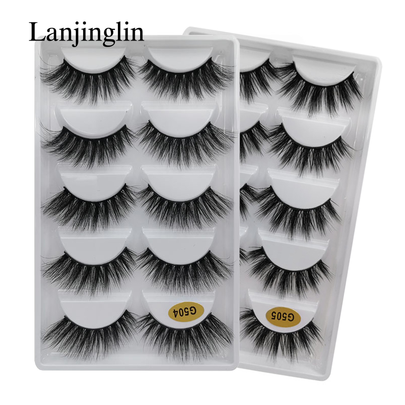 LANJINGLIN 5 Pairs Natural Long Faux Mink Eyelashes Fully Wispy False Eyelash Extension 3d Minks Fake Eye Makeup Faux Cils