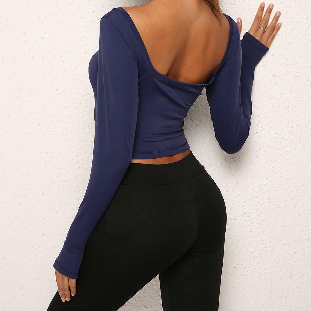 Рубашки Для Йоги Повседневные женские топы с длинными рукавами мягкие однотонные тренировочные толстовки сексуальные фитнес топы для бега для женщин Спортивная одежда для спортзала