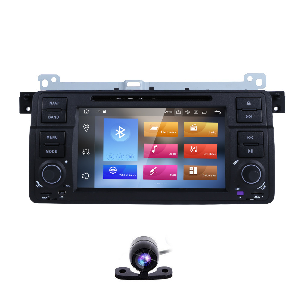 1Din Android 8.0 Qcta Core GPS AutoRadio Car DVD Player For BMW E46 M3 Sedan Coupe Touring MG ZT Rover 75 Convertible Hatchback isudar car multimedia player gps for bmw e46 m3 mg zt rover 75 canbus radio capacitive touch screen dvd player bluetooth ipod