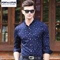 PUERTO & LOTUS Camisas de Los Hombres de Moda Marca de Ropa Informal Camisa de Los Hombres de Manga Larga Para Hombre de La Blusa de Algodón Camisa Masculina Camisa YT026 85330