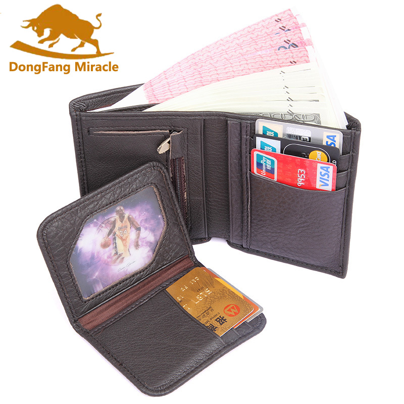 Hot Vintage Casual genuine leather men wallets Bifold Wallet ID Card holder Coin Purse Pockets Clutch with Removable card bit