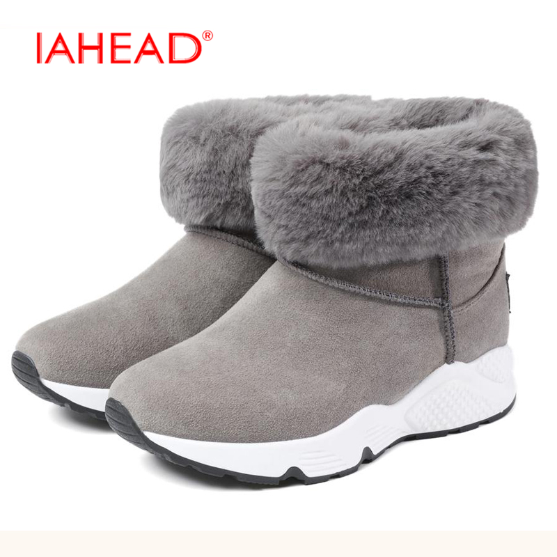 Snow Boots Shoes Women Winter with Fur Leather Flock Flats Shoes High Quality Slip On ankle boots female winter shoes UPA222 women boots winter shoes female plush inside snow boots high quality flock ankle boots lace up flats women shoes botas fashion