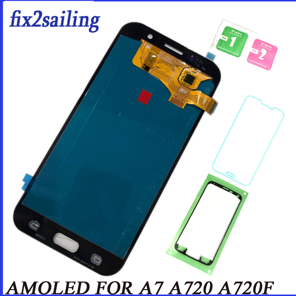 Super AMOLED Écran lcd Pour Samsung Galaxy A7 2017 A720 A720F SM-A720F Lcd Écran Remplacement Testé Travail Digitizer Assemblée