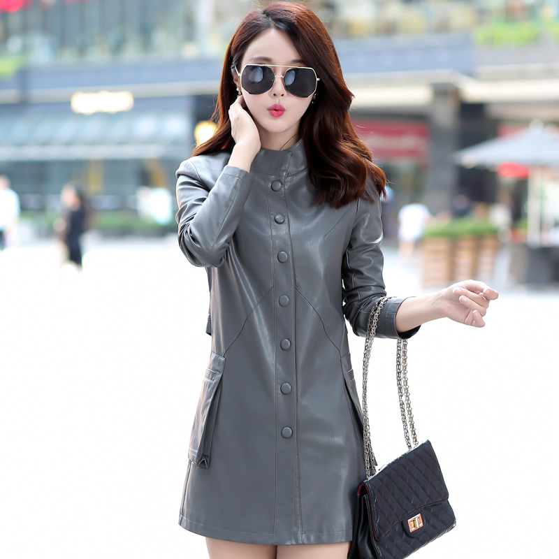 Women PU Leather Jacket 2018 New Fashion Ladies Elegant Slim Leather Coats Trench Female Outerwear Plus