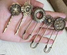 10pcs/lot  Antique Bronze Flower Brooch Hair Pin Clip