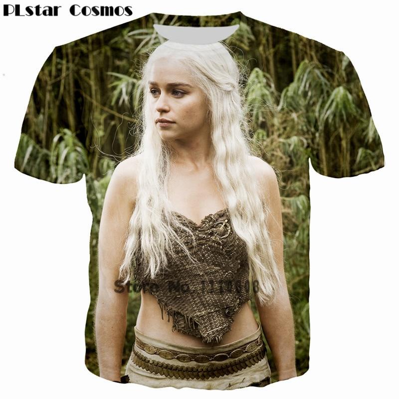 PLstar Cosmos HBO Fantasy Drama Game of Thrones Dragon Mother 3D print T-shirt Women fashion t-shirt Superstar Emilia tshirt