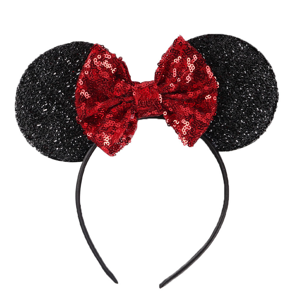 Sequin Bow Minnie Mouse Ears Headband for Kids Shiny Glitter Hair Bow Hairbands Girls' Photography Props Hair Accessories simba пупс minnie mouse