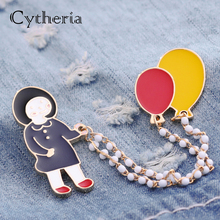 Skipping rope girl pins brooches little girl with balloons pin red yellow enamel pin chain brooch badge girls and welsh corgi long chain with windmill shape brooches pin