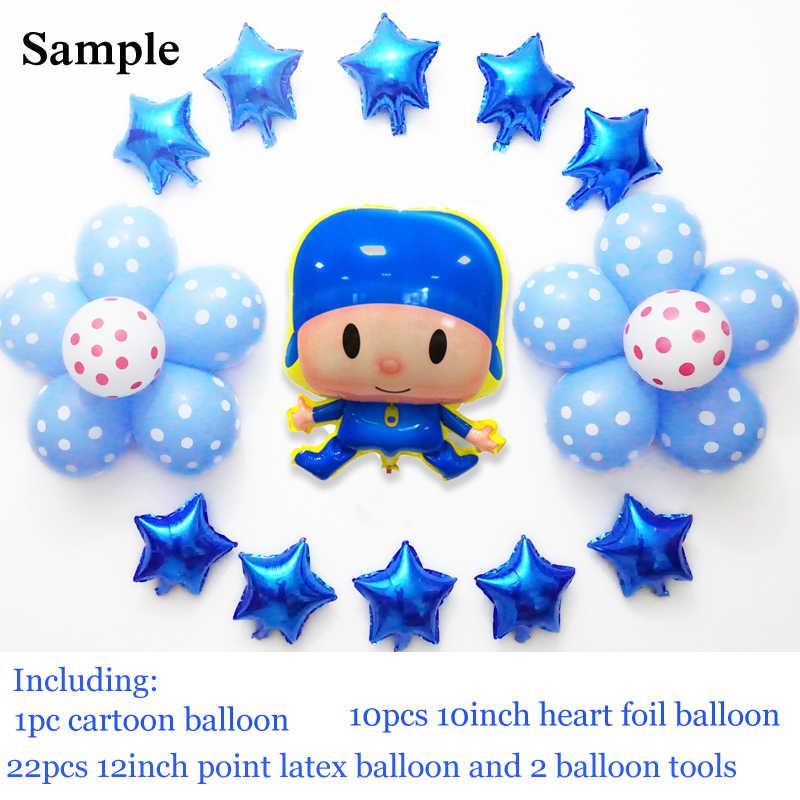 23 pçs/lote conjunto Pocoyo balões feliz aniversário balões foil para o menino feliz aniversário balões de festa balões de látex dot