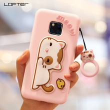 Lofter Cute Cartoon Stand Shockproof Silicon Cover For Huawei Mate 20 pro/Mate Phone Case Soft Ring Holder Lanyard Girls