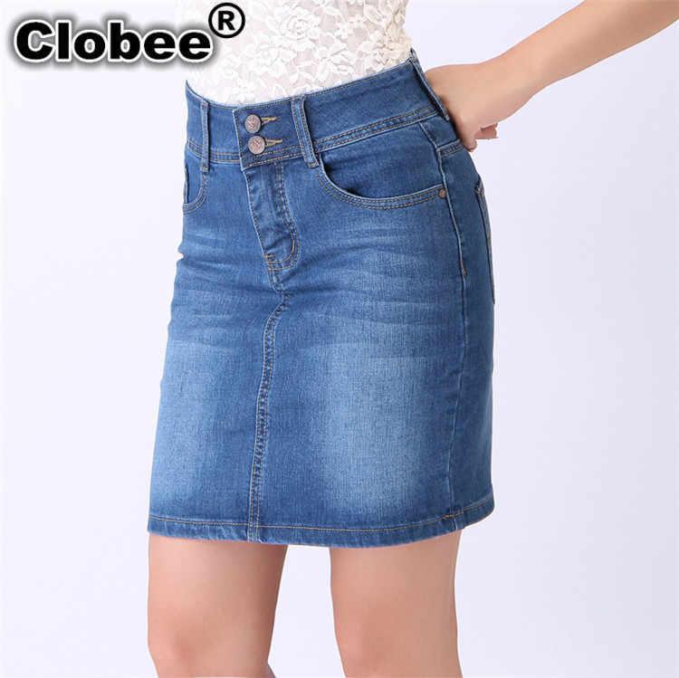 10c12279ee4 Plus Size 3XL 4XL 5XL 6XL Ladies High Waist Celebrity Denim Skirts Office  Formal Jean Skirt