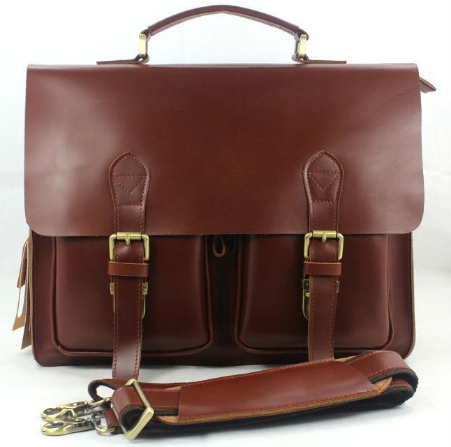 Wholesale High Class Genuine Leather Briefcase portfolio men Briefcase Leather Business bag 14 laptop bag tote