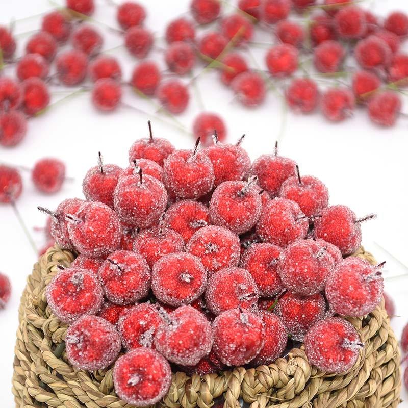 30Pcs 2cm Artificial Mini Apple Fake Fruit Glass Berries Pomegranate Red Cherry Bouquet Stamen Christmas Decorative