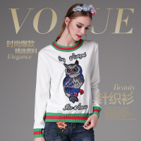 High Quality Harajuku Fashion Designer Runway Beads Owl Embroidered Sweater Women Autumn Top Knitwear O Neck Thick Pullover