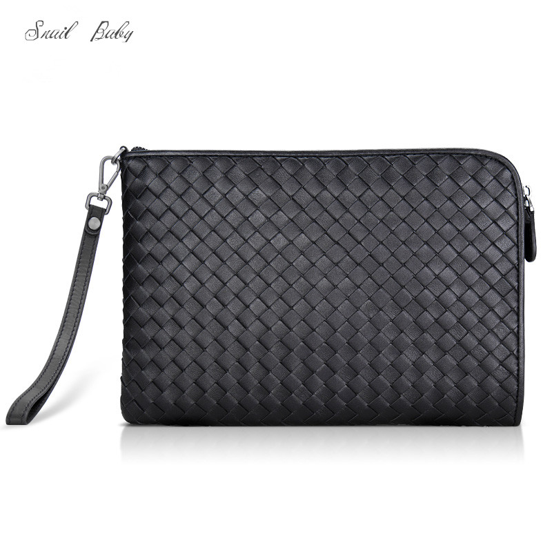 new woven handbag male genuine leather clutch bag envelope bag sheepskin business handbag