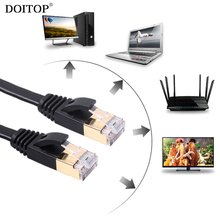 DOITOP 1000Mpbs LAN Cable 10 Gigabit Flat Ethernet Cables CAT7 RJ45 Network Ethernet Patch Cord Lan Cable For Computer Router