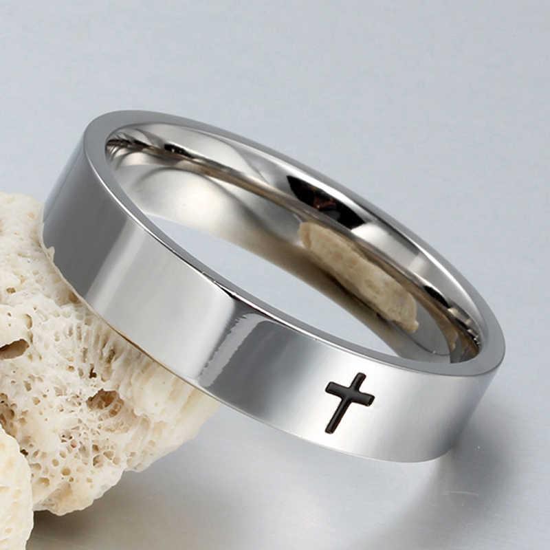 Anel cruz de aço inoxidável para mulheres dos homens jesus cristo cristo oração prata