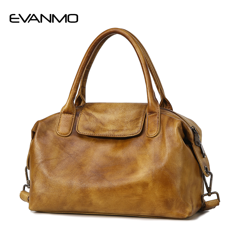 Women Totes Bag Fashion Genuine Leather Retro Brand Boston Handbag for Lady  Shoulder Messenger Bags Real 1db628476cb06