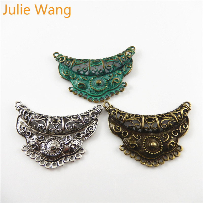 Julie Wang 3PCS Antique Bronze/Silver/Green Alloy Charms Connector Pendant Bracelet Necklace Metal Jewelry Accessories Making