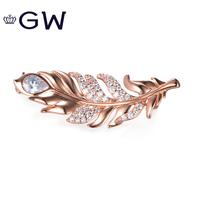 925 Sterling Silver Rose Gold Color Feather Women Brooches Clear Crystal Trendy Style 2018 Best Gift Of Christmas High Quality