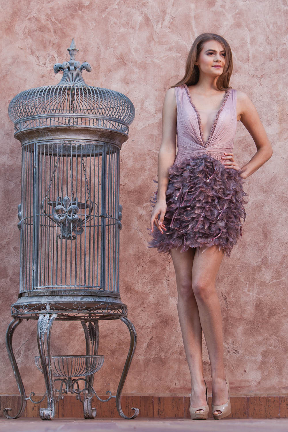 Purple deep V neck cocktail dresses short feather dress with covered ...