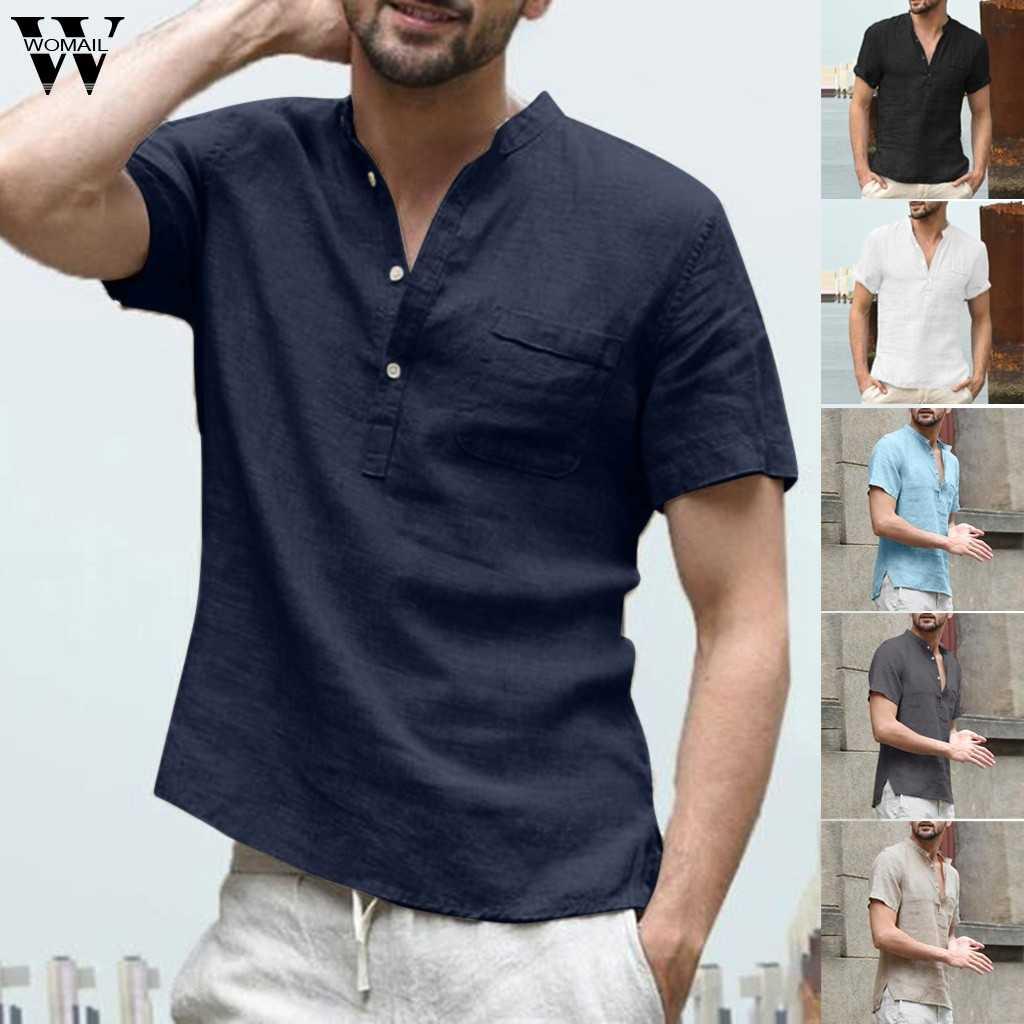 6e25a0320 Womail Shirt Men summer fashion Short-sleeved Baggy Cotton Linen Solid  Button Beach Shirts Daily