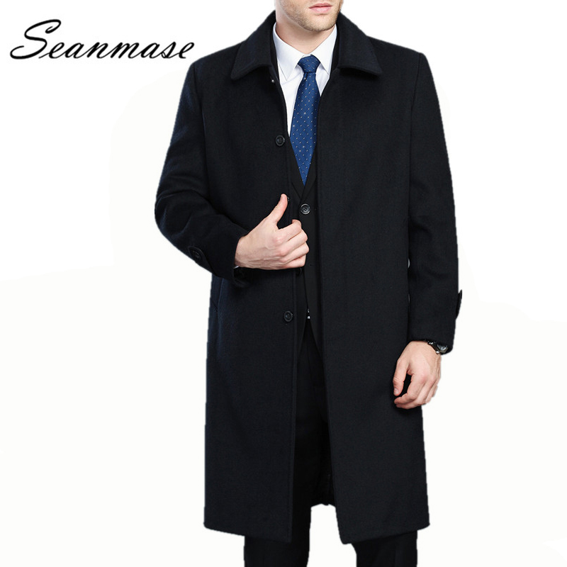 2019 Winter Long Wool Coat Men Outwear Jacket Thickening Mens Warm Coat Parkas Man Mens Cashmere Plus Size 4XL ZZ048(China)