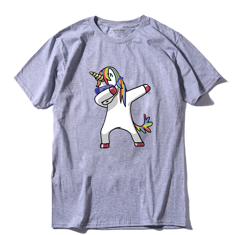 COOLMIND DA0120A 100% Cotton Dabbing Unicorn Print Men T Shirt Casual Summer Dab Men Tshirt Cool Funny T-shirt Mens Tee Shirts