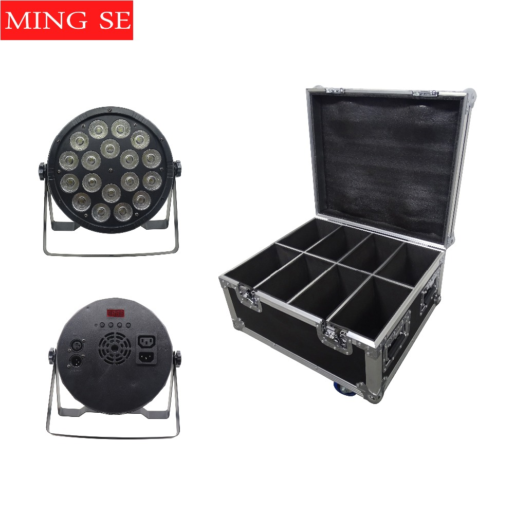 8Pcs/lots 18x12W Led Par Lights RGBW 4in1 Flat Par Led With Flight Case DMX512 Disco Lights Professional Stage Equipment|Stage Lighting Effect|   - title=