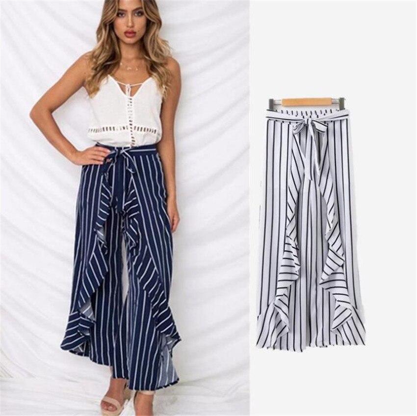 MLCRIYG 2018 Новая мода тонкий высокая талия в виде листка лотоса сбоку уздечка брюки в полоску