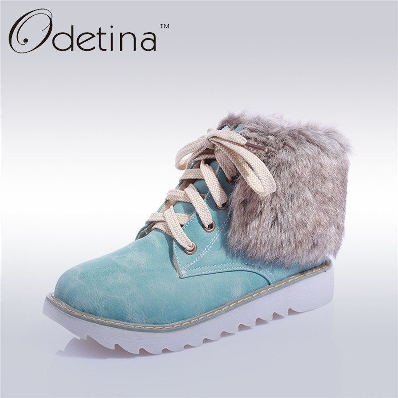 ФОТО Odetina Lace Up Ankle Boots for Women Winter Warm Plush Rabbit Fur Shaft Snow Boots 2016 Fashion Flat Ladies Booties Large Size