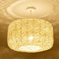 Pendant lamps Wicker Rattan Cage Lantern Shade D35cm E27 Lantern Pendant Light For Mall Porch Study Hotel Home Lighting G023