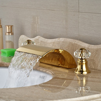 High-grade Best Quality Basin Sink Countertop Faucet Dual Handles Three Holes Gold Finish