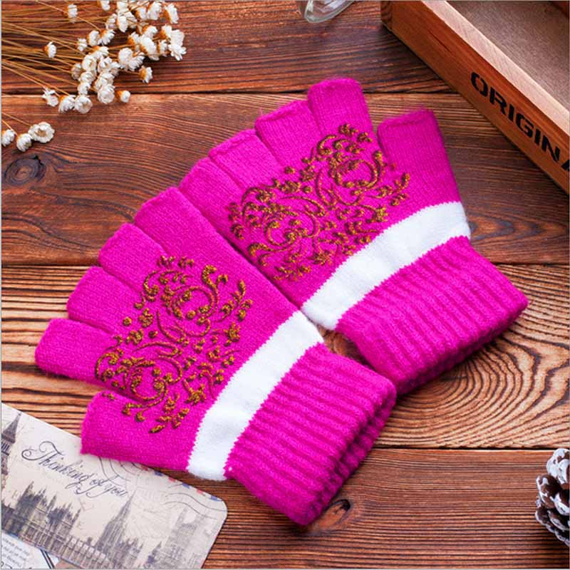 Female Women Fingerless Winter Gloves Half Finger Guantes Wrist Knit ...