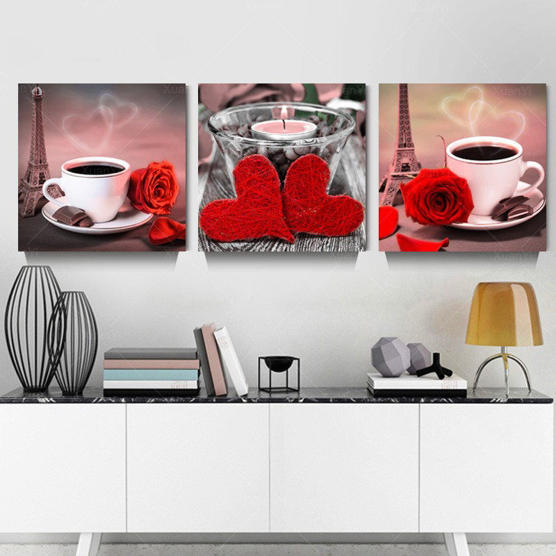 3 pieces set of canvas prints still life series of cups in black wall art drawing with modern mural pictures framed in Painting Calligraphy from Home Garden