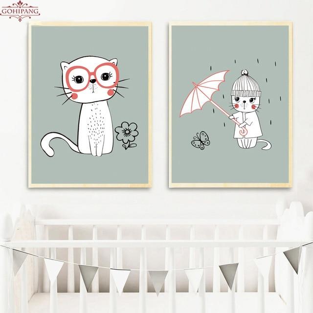 Gohipang çerçeveli Boyama Kedi şemsiye Posterler Iskandinav