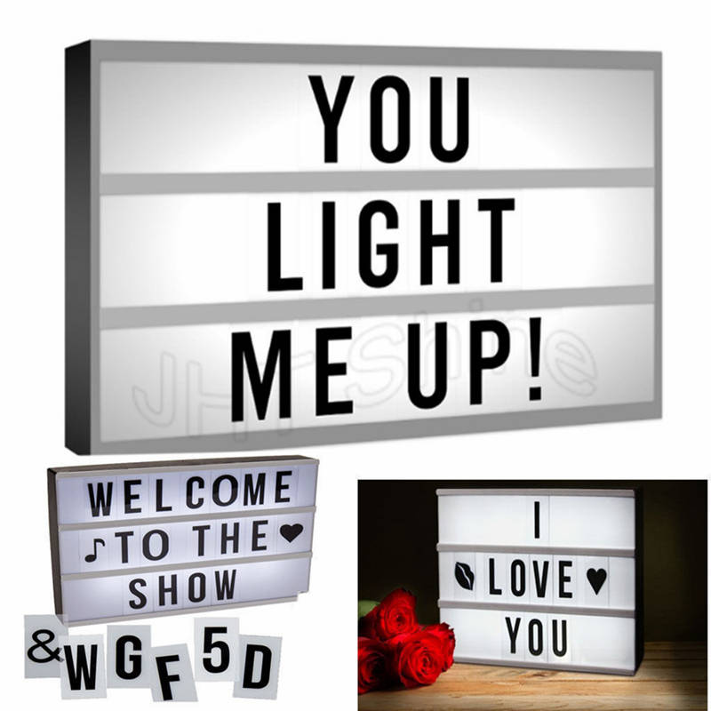 A4 Mini Cinematic Light Box Cinema Plaque LED Letter Lamp Symbols Sign Messages Board For Party Wedding Home Decoration DIY Gift