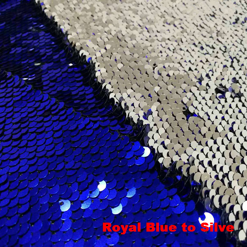B Y 1yard Royal Blue to Silver Reversible Mermaid Fish Scale Sequin Fabric Sparkly Fabric For Dress Pillow Clothes Backdrop in Tablecloths from Home Garden