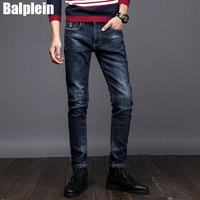 2017 Winter Fashion Mens Jeans Fleece Warm Jeans Men Balplein Brand Designer Slim Fit Elastic Velvet