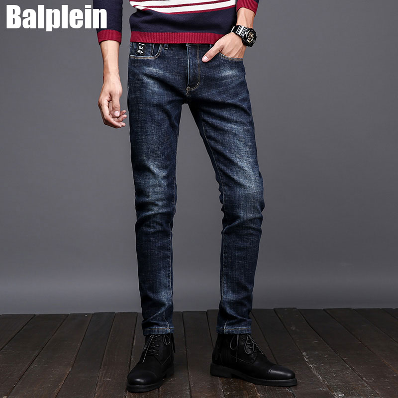 2017 Winter Fashion Mens Jeans Fleece Warm Jeans Men Balplein Brand Designer Slim Fit Elastic Velvet Jeans Casual Business Pants