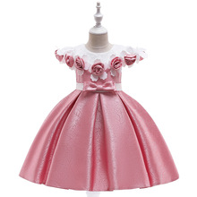 Flower Girl Applique Ball Gown Princess Dress for Wedding Party Kids Dresses for Girls Children Fashion Performance Clothing цена и фото