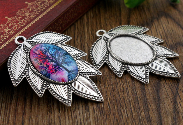 3 шт. 18×25 мм внутренняя размеры античное серебро цветы стиль Камея Кабошон База настройки талисманы ожерелье с подвеской (C2-10)