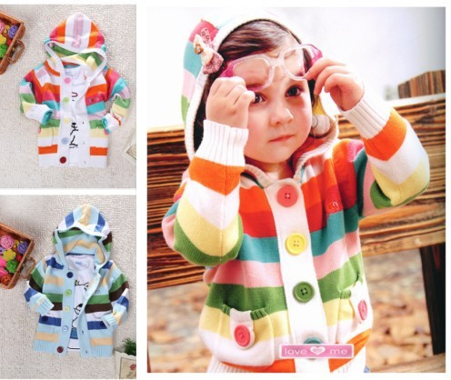 2016 NOVAS Crianças Outerwear Bebê Meninas Meninos Primavera Outono Colorido Rainbow Listrado Hoodies Sweater Cardigan Crianças Outerwear Casaco