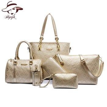 2055671e3 Bolsos de moda de diseñador de marca de lujo para mujer, bolsos de hombro  de alta calidad unids, 6 piezas, Cartera de mano tipo mensajero