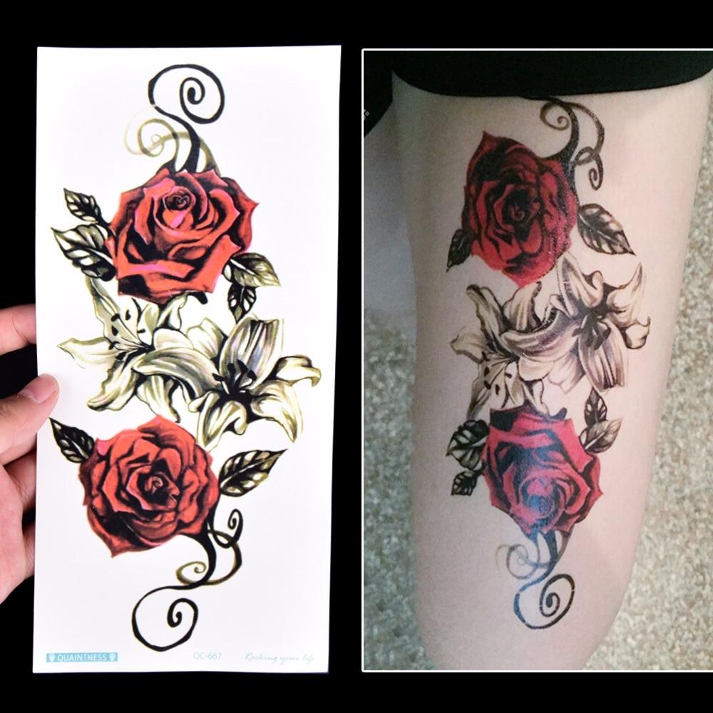 1Pc Flower Tattoos Sticker Body Art Big Red Rose Flowers