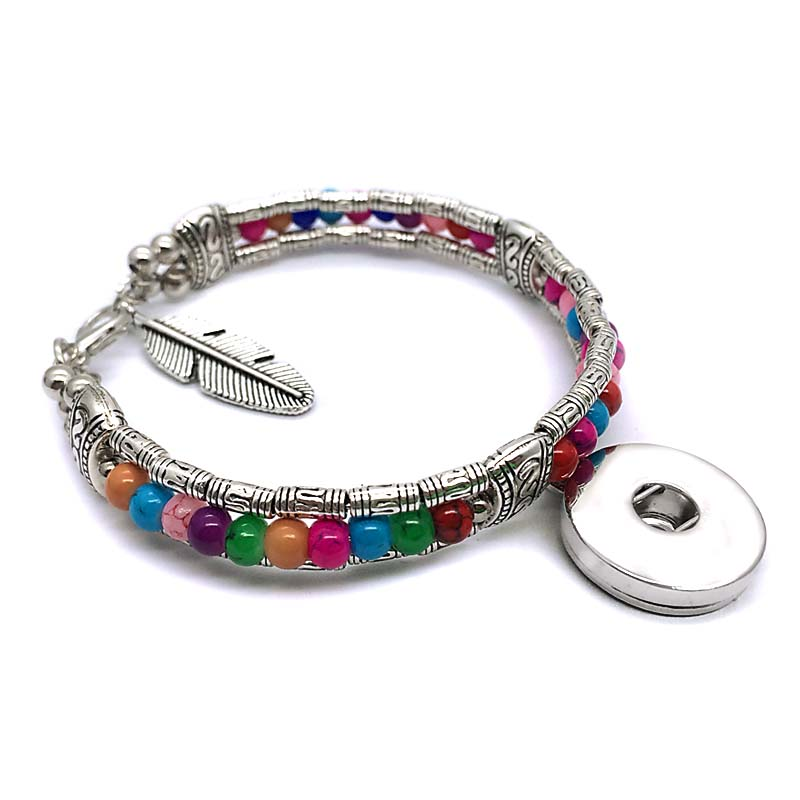 New Bohemia National style Arrival 253 Interchangeable Candy Colors Acrylic Bead Bracelet 18mm Snap Button Jewelry women gift