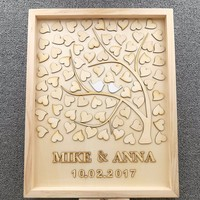 Personalized Love Birds Wedding Tree Guest Book,Custom Wooden Family Tree Guest Book Wedding Party Signature Supplies
