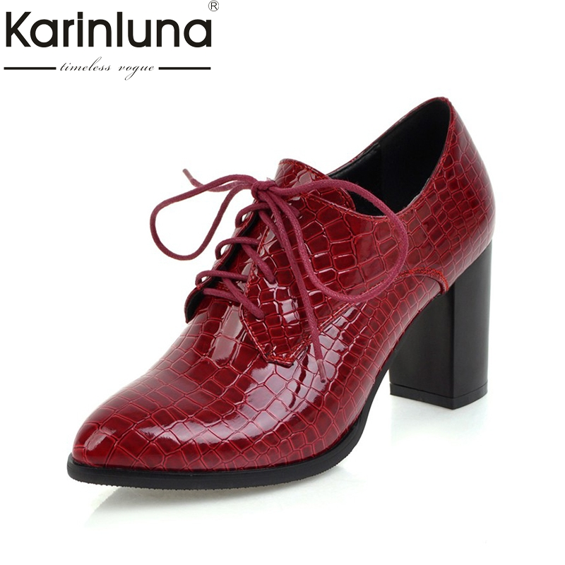 KARINLUNA Retro British Style plus size 34-43 pointed toe lace up pumps women shoes square high heeled casual shoes woman xiaying smile new spring autumn women shoes british style retro casual pantshoes lace shoes square heel pointed toe rubber pumps