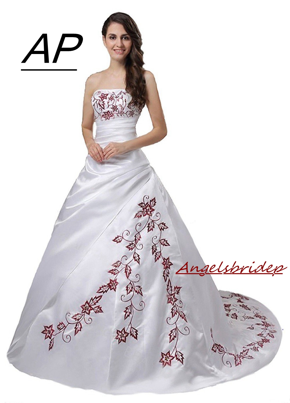 ANGELSBRIDEP Plus Size Ball Gown Wedding Dress Unique Red Embroidery Satin Vestidos De Noiva Formal Bride