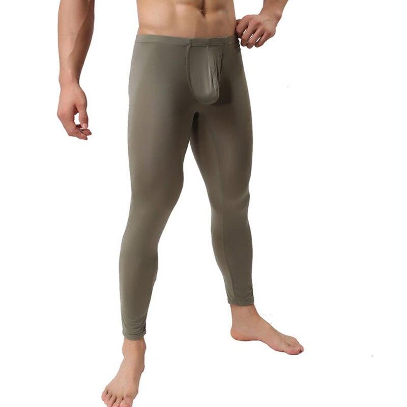 Men's Sexy Leggings Ultra-thin Ice Silk Pants Mesh Underwear Pants Tights Leggings For Autumn Winter Long Pants Homem Sleepwear